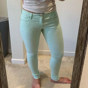 Seafoam green Express jeggings